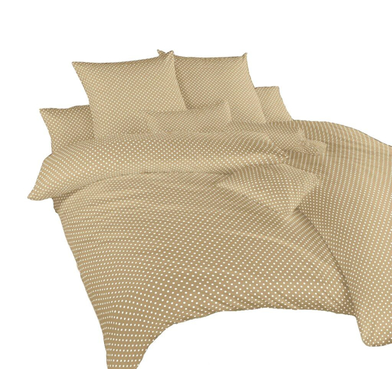 Obrázek z Povlečení bavlna Puntík bílý na béžovém 140x220, 70x90 cm