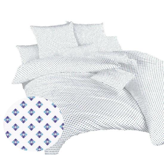 Obrázek z Povlečení bavlna Carré modré 140x200, 70x90 cm