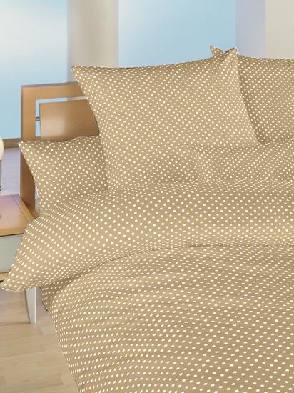 Obrázek z Povlečení bavlna do postýlky Puntík bílý na béžovém 90x130, 45x60 cm