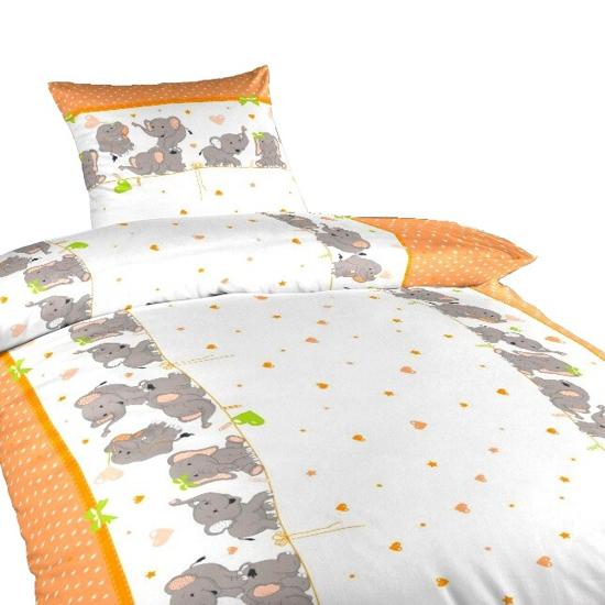 Obrázek z Povlečení bavlna Sloni oranžoví 140x200, 70x90 cm