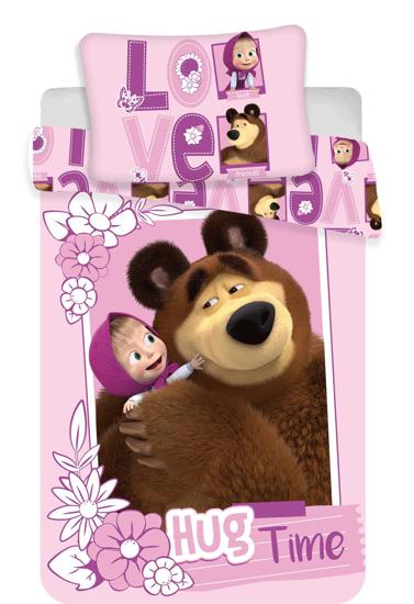 """Obrázek z Disney povlečení do postýlky Máša a medvěd """"Love"""" baby 100x135, 40x60 cm"""