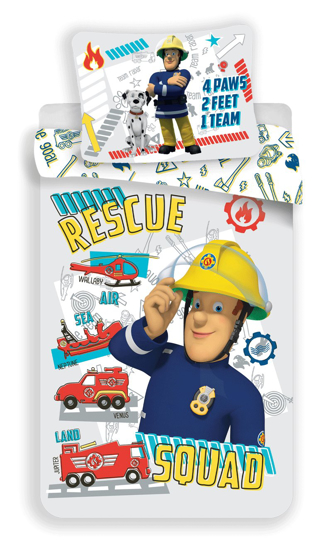 "Obrázek z Disney povlečení do postýlky Požárník Sam ""Rescue squad"" baby 100x135, 40x60 cm"