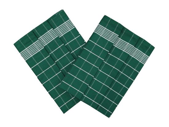 Obrázek z Utěrka Pozitiv Egyptská bavlna smaragdová/bílá - 3 ks