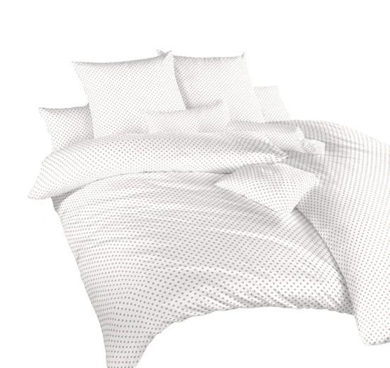 Obrázek z Povlečení krep Puntík béžový na bílém 140x200, 70x90 cm